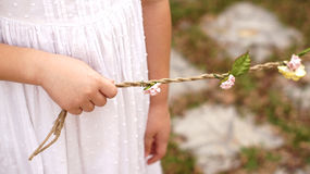 Kid hand holding a rope of flower for wedding Stock Photography