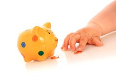 Kid hand and piggybank. Royalty Free Stock Photo