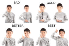 Kid hand sign language on white background education