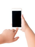 Kid hand touch on mobile smart phone with blank screen. Stock Photos