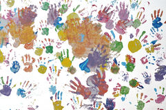 Kid handprint on the wall. Stock Images