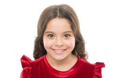 Kid happy cute face with adorable curly hair. Beauty tips for tidy hair. Young skin care. Pure beauty. Kid girl long stock photography