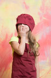 Kid, happy girl cook in red chef hat, apron Royalty Free Stock Image