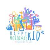 Kid Happy Holidays logo original design colorful hand drawn vector Illustration Royalty Free Stock Photos