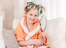 Kid happy with new hair style royalty free stock photos