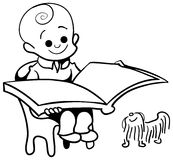 Kid happy read. Brush stroke line art kid happy read cartoon image Royalty Free Stock Photo