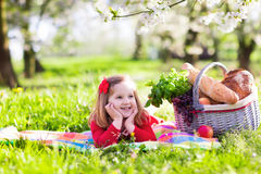 Kid having picnic in blooming garden. Little children eating lunch outdoors. Kids with picnic basket in spring garden with blooming apple and cherry tree Royalty Free Stock Photo
