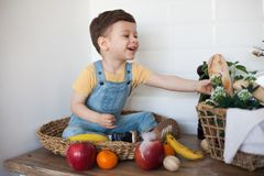 Kid having a table full of organic food. Cheerful toddler eating healthy salad and fruits. Baby choosing between apples, bananas, stock image
