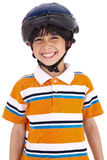 Kid with head cap ready for bicycle ride Royalty Free Stock Photo