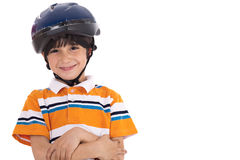 Kid with head cap ready for bicycle ride Royalty Free Stock Photography