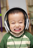Kid with headphone stock photo