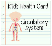 Kid health card with circulatory system Stock Photography