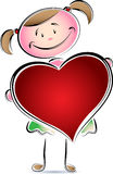 A kid with heart. Cute cartoon image Royalty Free Stock Images