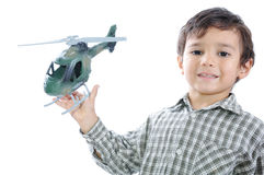 Kid with helicopter Stock Photos