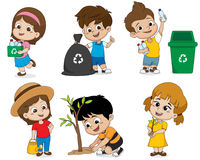 Free Kid Help Save The World By Collecting Plastic Bottles Recycled, Stock Photography - 95033302
