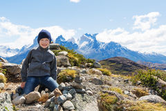 Kid hiking in patagonia Royalty Free Stock Photos