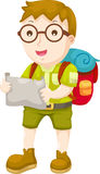 Kid Hiking vector. Kid Hiking illustration on a white background Royalty Free Stock Photos