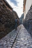 Kid on his bicycle on a narrow cobblestone street stock photos