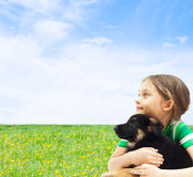 Kid with his dog Royalty Free Stock Image