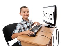 Kid at his pc. Monitor can be used as copyspace. Royalty Free Stock Images