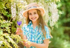 Kid hold flowers bouquet. Girl cute adorable teen dressed country rustic style checkered shirt nature background. Summer stock photos
