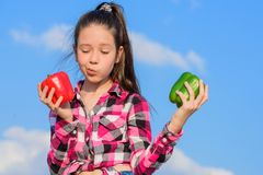Kid hold ripe pepper harvest. Fall harvest homegrown vegetables. Vegetarian concept. Which pepper would you pick. Kid. Girl hold red and green peppers sky royalty free stock photo