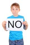 Kid hold slogan NO Stock Photo