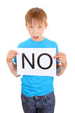 Kid hold Slogan NO Royalty Free Stock Photo