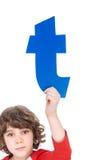 Kid holding alphabet letter Royalty Free Stock Image