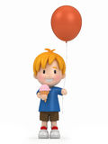 Kid holding balloon and ice cream Stock Images