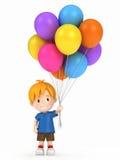 Kid holding balloons Stock Photography