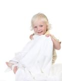 Kid Holding a Bath Towel Smiling Stock Photo
