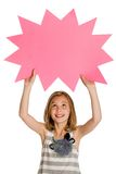 Kid holding a blank sign Royalty Free Stock Photography