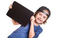 Kid holding a chalkboarb Stock Photo