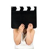 Kid holding clapper board Stock Photos