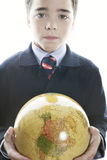 Kid holding globe in his hand. Stock Photography