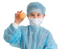 Kid Holding His Bouncy Egg Elementary School Project Royalty Free Stock Photo