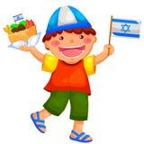 Israeli kid. Kid holding the Israeli flag and eating falafel Stock Image