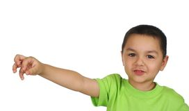 Kid holding nothing stock photography