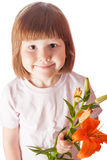 kid holding orange lily isolated Royalty Free Stock Photos