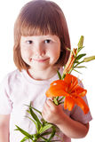 Kid holding orange lily isolated Royalty Free Stock Images