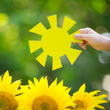 Kid holding paper sun Royalty Free Stock Photo