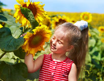 Kid holding sunflower outdoor. Stock Image