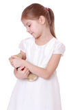 Kid holding teddy bear Stock Image