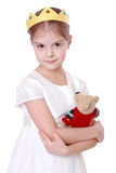 Kid holding teddy bear Stock Photos