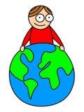 Kid holding world vector illustration Stock Photos