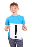 Kid holds Exclamation Mark Stock Photography