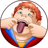 Kid Holds Mouth with His Tongue Out. A vector illustration of a red headed child holding his mouth open and taking out his tongue stock illustration