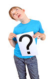 Kid holds Question Mark Royalty Free Stock Photos