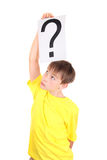 Kid holds Question Mark Royalty Free Stock Image